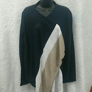 360 Sweater color blocked navy white and tan